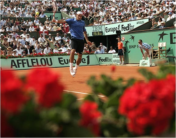 Content to duel from the baseline, Roger Federer had 51 unforced errors to 28 by Rafael Nadal.