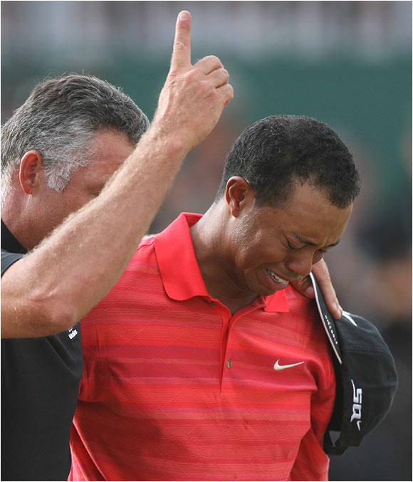"""This was Tiger Woods' first victory since his dad passed in May. """"I miss my dad so much. I wish he could have been here as he thoroughly enjoyed watching me grinding out major championships."""""""