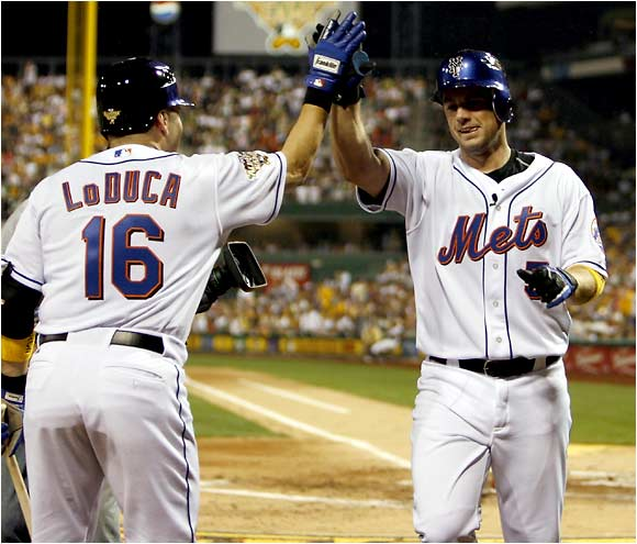 David Wright (right), runner-up in the Home Run Derby, became the 13th player to hit a home run in his first All-Star Game at-bat.