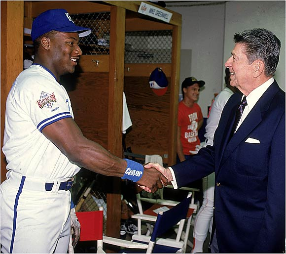 Royals slugger and two-sport star Bo Jackson led off the bottom of the first at Anaheim Stadium with a home run off NL starter Rick Reuschel that keyed the AL's 5-3 victory and garnered Jackson MVP honors.