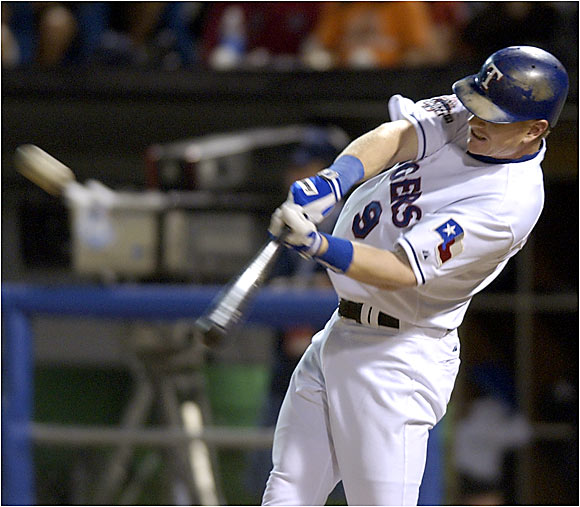 Texas third baseman Hank Blalock gave the AL home field advantage in the World Series with a stunning two-run home run off Eric Gagne at U.S. Cellular Field. Blalock became the 12th player to go deep in his first All-Star at-bat.
