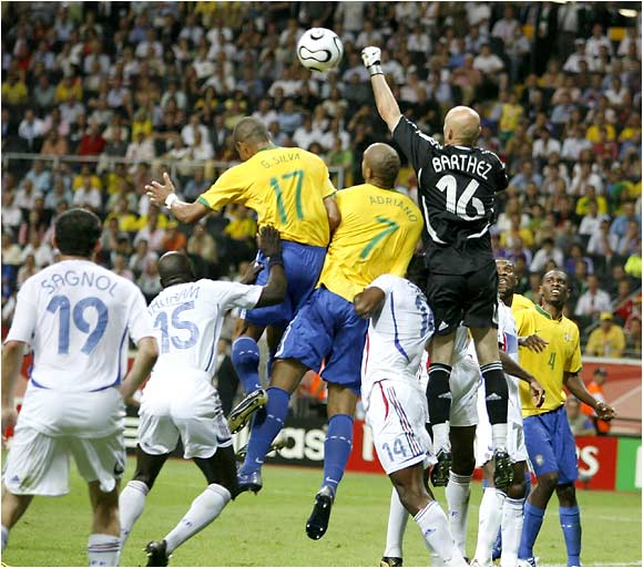 Fabien Barthez rises above Brazil's front line as he duplicated his shutout from the 1998 World Cup final.