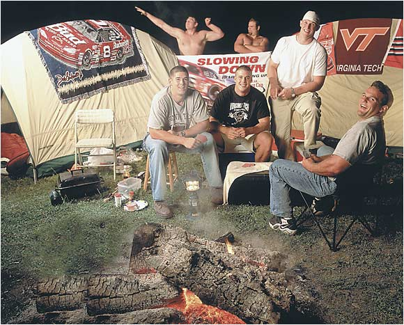 The 2001 Virginia Tech Hokies knew how to have a good time off the field. Players (from back left) Matt Wuncek, Steve Demasi, Bob Slowikowski, Bronwing Wynn, Ben Taylor, and Brian Welch enjoyed a hearty tailgate before a NASCAR race.