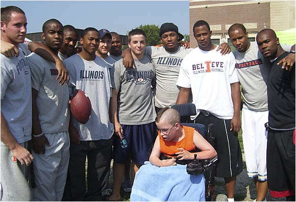 "In June, members of the Illinois football team helped raise more than $10,000 for the Cunning Children's home, a Champaign facility that takes in wards of the state. ""It's a real rewarding feeling,"" said Illinois offensive lineman Matt Maddox, who organized the event. ""I felt like I had accomplished something important."""
