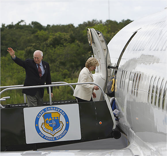 Vice President Dick Cheney and his wife Lynne board Air Force Two at Cape Canaveral en route to their first NASCAR race.