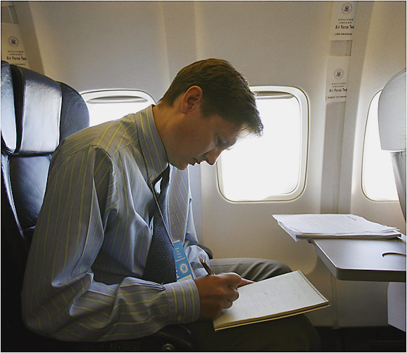 Seated in Air Force Two, SI's Lars Anderson readies himself for an interview with Cheney -- that never took place.