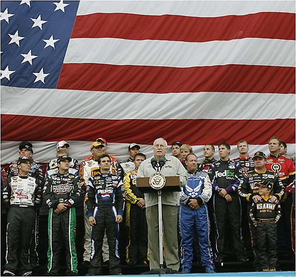 With the Pepsi 400 drivers gathered behind him, Vice President Dick Cheney addresses NASCAR nation.