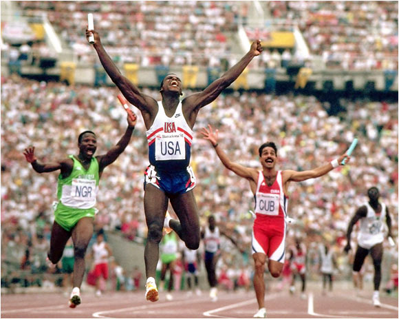Carl Lewis at the 1992 Olympics in Barcelona, Spain.
