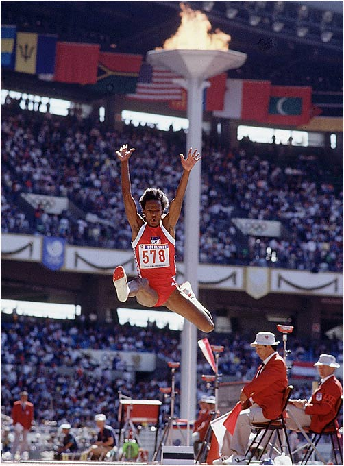 Jackie Joyner during the long jump portion of the heptathlon at the 1988 Olympics Games in Seoul.