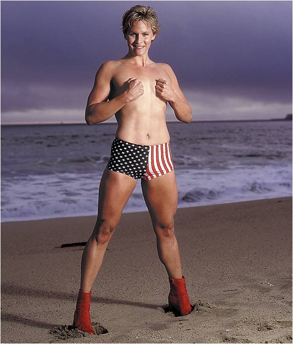 Jenny Thompson on a beach in San Francisco, April 26, 2000.