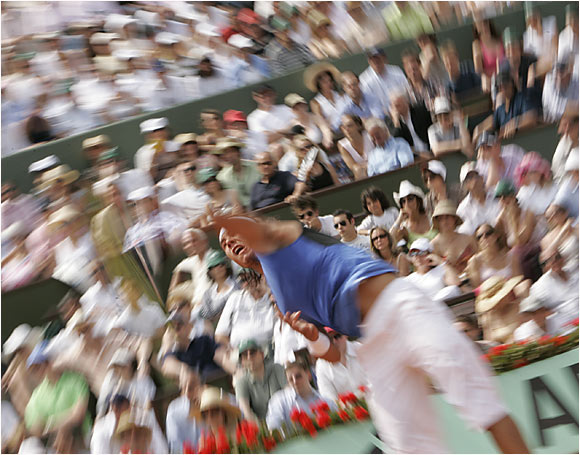 Rafael Nadal during the French Open final against Roger Federer on June 11, 2006.