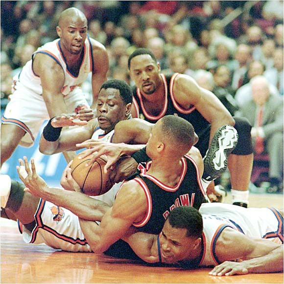 With the Knicks up 3-1 in Game 5 of the Eastern Conference playoffs, a brawl broke out between Heat forward P.J. Brown and New York guard Charlie Ward, as Brown flipped Ward over his head and body-slammed him. Knicks center Ewing then made perhaps the biggest mistake of all, leaving the bench and drawing a one-game suspension. Without Ewing, the Knicks lost the following game and eventually the series.