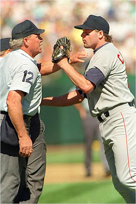 Clemens lifted the Red Sox to a shot at the pennant against the A's. But in the second inning of Game 4 in Oakland, the Rocket blasted home plate umpire Terry Cooney for his strike zone and was subsequently ejected. The A's went on to win the game and sweep the series.