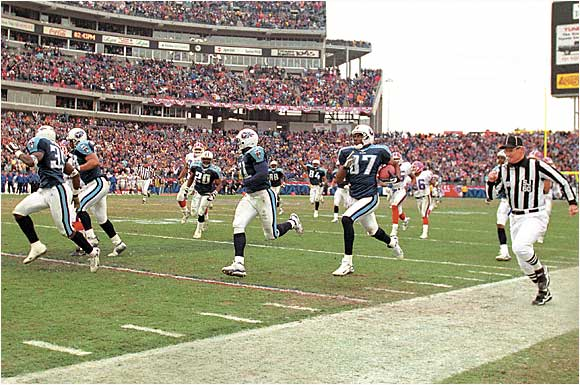 "The ""Music City Miracle"".  Tennessee Titans Kevin Dyson returns a kick for a 75-yard, game-winning touchdown against the Bills during the AFC playoffs on Jan. 8, 2000."