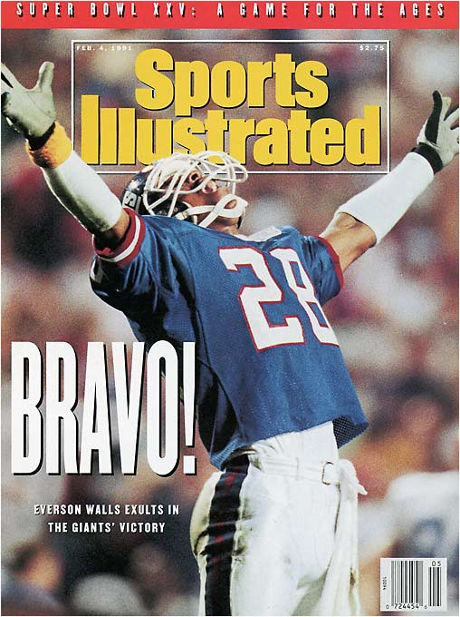 The New York Giants' Everson Walls celebrates his team's Super Bowl win over the Buffalo Bills on Jan. 27, 1991.