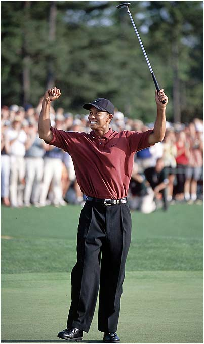 With a successful defense at Augusta, Woods, at 26, joins Jack Nicklaus (1965-66) and Nick Faldo (1989-90) as the only repeat winners in tournament history.