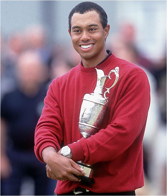 By claiming the Claret Jug, Tiger becomes the youngest player to win all four majors and also the first player since Tom Watson in 1982 to win the U.S. and British Open in the same year.