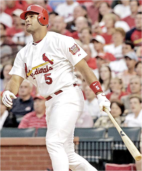 Before his recent injury, Pujols was on pace to challenge the single-season home run mark. More important, though, is the long-term impact of what this guy can accomplish. Before he's finished, he could supplant the fellow on top of this list as the best-ever right-handed hitter.