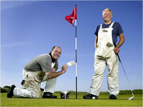 "<b>PAINTERS, Terry Hearty and John Dalton (left, retired):</b> ""I was an assistant pro at Hoylake from 1959 to '63, and played the '61 Open at Royal Birkdale, when Palmer won. It was marvelous being a pro, but it was a good move for me, getting me amateur status back and becoming a painter."""