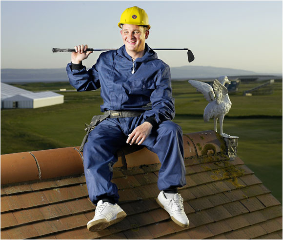 "<b>ROOFER, Les Lucas:</b> ""The clubhouse roof is red clay tile, very traditional. I'm up there once a year or so, to make repairs and clean the gutters. The view of the course from there is fantastic. If you could sell a rooftop ticket for the Open, you'd be talking about a lot of money."""
