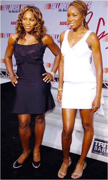 Serena and Venus Williams work the red carpet at the premiere for Will Ferrell's upcoming movie, Talladega Nights: The Ballad of Ricky Bobby.