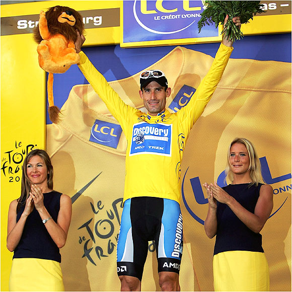 Hincapie was in yellow after Stage 2, becoming the fourth American rider ever to don the leader's jersey.