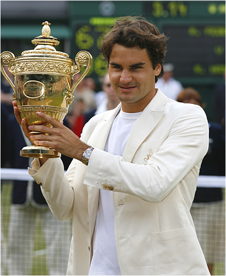 Roger Federer is the eighth man in history to win four or more Wimbledon titles.