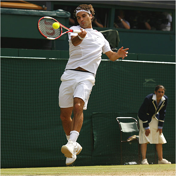 No. 1 seed Roger Federer finished off Rafael Nadal in four sets, 6-0, 7-6 (5), 6-7 (2), 6-3 on Centre Court.