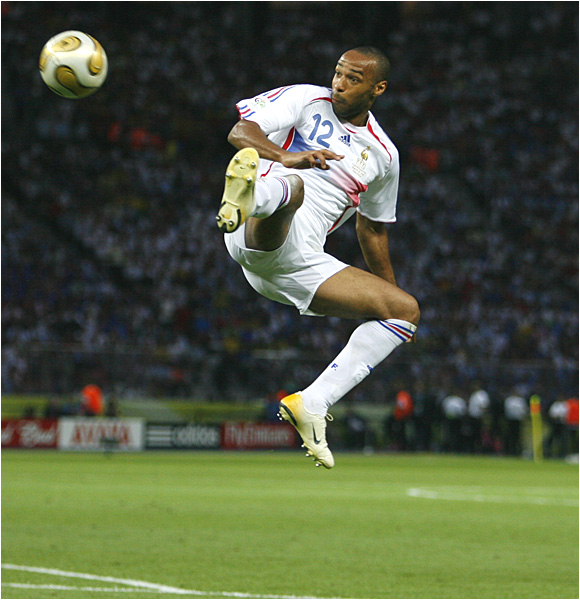 France's Thierry Henry went down with an early injury, but still played 106 minutes, getting two shots on goal.