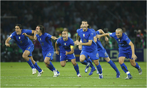 Italy celebrates after Fabio Grosso clinched the Azzurri's fourth championship with the final penalty kick.