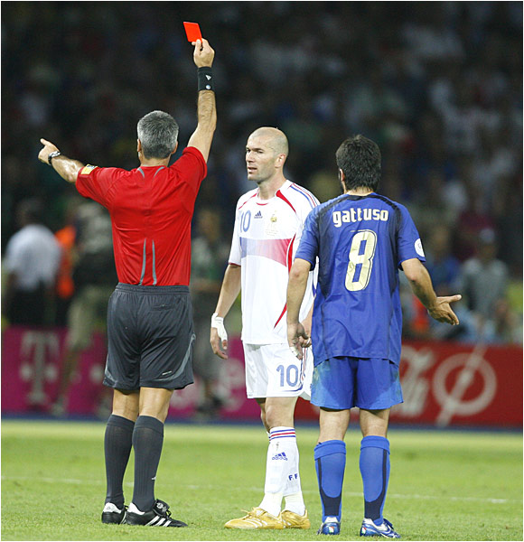 After conferring with his assistants, referee Horacio Elizondo of Argentina gave Zinedine Zidane a red card, ending Zizou's career on a sour note.