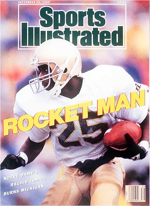 Notre Dame's most electrifying football player ever, Ismail won the Walter Camp Award in 1990 as a junior before turning pro. He is the lone Notre Dame player to accumulate more than 1,000 career yards in three categories: rushing, receiving and kickoff returns, Ismail averaged 7.7 yards per carry, a school record 22 yards per his 71 receptions, and returned a school record five kickoffs for TDs -- two during a 24-19 Irish victory at Michigan in a No. 1 versus No. 2 showdown. His 17 career TDs averaged 61.7 yards.