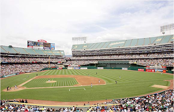 Are Raiders fans showing up to A's games, too? The perennially pitching-rich A's have posted a winning record at their spacious home for seven consecutive years, including a 57-24 mark in 2003.