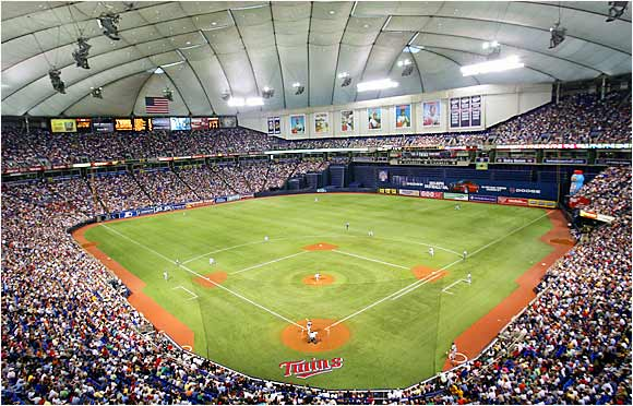 Homer hankies, anyone? If Twins outfielders are losing fly balls on the Homer Dome's ceiling, the visitors are certainly going to have a hard time of it as well.
