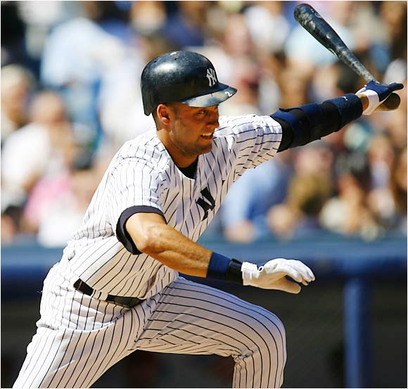 Derek Jeter failed to hit in this game, going 0-for-4 against the Angels on Aug. 12, but the Yanks still won 5-2.