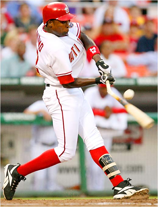 Washington's Alfonso Soriano breaks his bat against the Florida Marlins on August 9. He had one hit in the game, a 2-1 win for the Nationals against the Marlins.