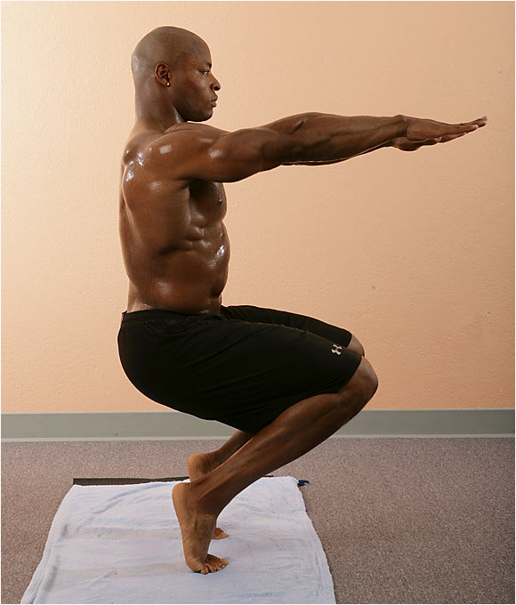 San Franciso 49ers Tony Parrish broke his left ankle and fibula in a game against the Bears last November and used yoga to help him regain trust in the injured leg.  Here are his yoga tips. <br><br>Posture: Feet should be hip distance apart, heels raised, arms straight out, palms down. Squat as if sitting in a chair. Hold for 10 counts, return to starting position. Repeat.