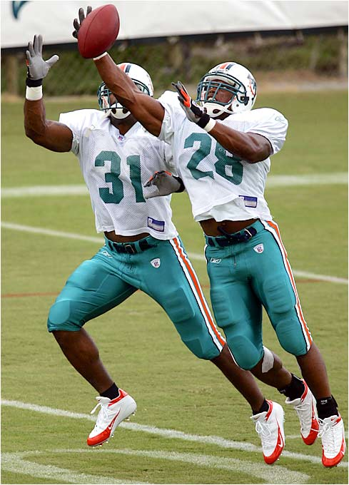 With Ricky Williams gone, the Dolphins have some concerns about their second-string running back. Morris (left) is the front-runner to pin down the position, but he struggled last season and the shifty Minor has a chance to earn some playing time.