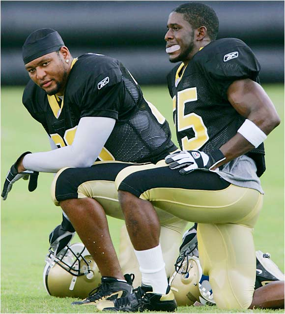 The Saints had said that McAllister (left) was the starter and they'd find a way to use Bush, but McAllister's lingering knee questions may give Bush a chance to move up.