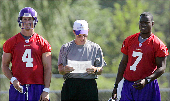 The Vikings have been impressed enough with the rookie Jackson (right) to say publicly that he could earn the No. 2 QB spot sooner rather than later.