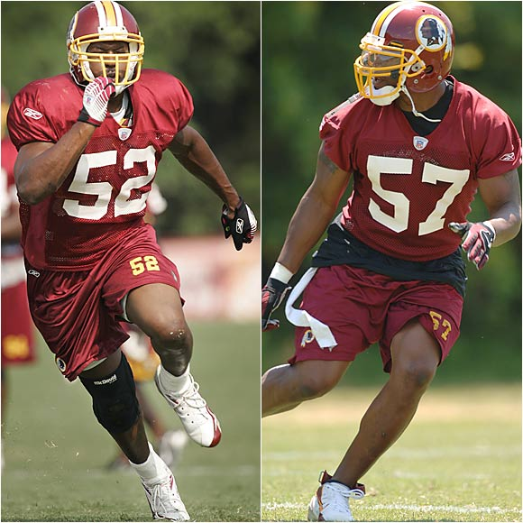 Holdman (right) got a jump on becoming the departed LaVar Arrington's replacement when McIntosh underwent minor knee surgery in June.