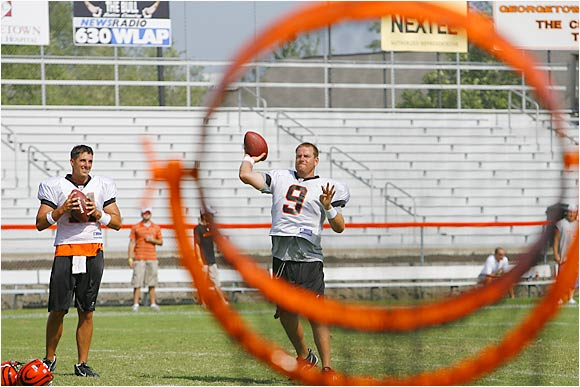 Bengals QBs Carson Palmer (9) and Doug Johnson took turns throwing footballs through a set of rings at camp.