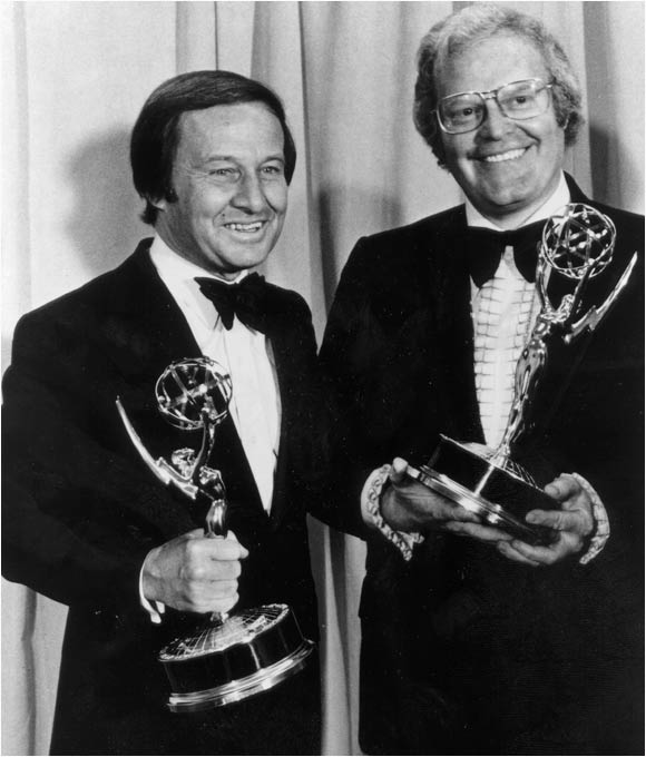 On the heels of the Olympic tragedy in Munich, Roone Arledge and Jim McKay pose with the Emmy's won by ABC Sports for their historic coverage.