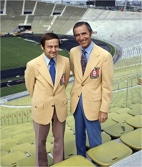 "Before the start of the Summer Olympics in 1972, sportscasters Jim McKay and Chris Schenkel posed in Munich's Olympic Stadium. Of course, six days before the closing ceremonies, eight Palestinian guerillas would kill two Israeli athletes and seize nine hostages. All nine would be slain, and McKay and Peter Jennings reported the unfolding drama. It was there that McKay would utter the famous words, ""They're all gone."""