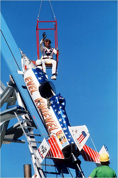 In 1974, Evil Knievel failed to clear the 3/4-mile leap across Idaho's Snake River Canyon. His reputation as a daredevil and master of promotion, however, would remain untarnished.