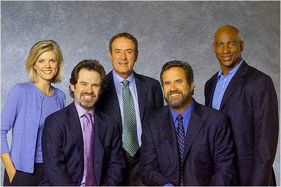 In 2000, ABC trotted out a new Monday Night Football team, starring Al Michaels (center), Dan Fouts, and, of course, comedian Dennis Miller in the booth. Eric Dickerson and Melissa Stark reported from the sidelines.