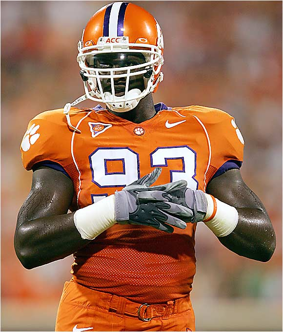 He was projected as a first-round pick in the 2006 NFL draft, but he returned to terrorize ACC quarterbacks for one more season. In 2005 -- his first season as a starter -- the lightning-quick defensive end led the Clemson defense in sacks (9.5) and tackles for loss (15).