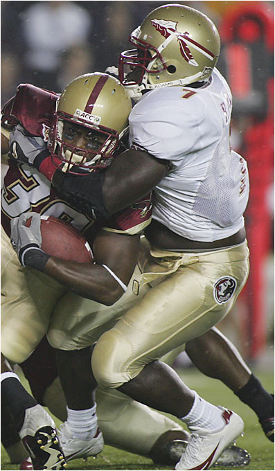 With the loss of first-round draft picks Ernie Sims, Kamerion Wimbley, Brodrick Bunkley and Antonio Cromartie, as well as the departure of A.J. Nicholson and Pat Watkins, Florida State needs a huge year from its loquacious linebacker. A vicious hitter, Davis was second on the team last year with 91 tackles.