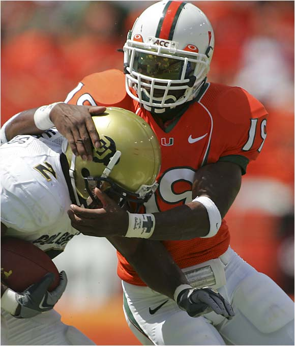 """Nicknamed """"Hit Stick"""" and """"BWare"""" by his teammates, Meriweather is one of the country's most punishing tacklers. Last season he led Miami with 115 tackles and added 13 tackles for loss, seven pass breakups, three interceptions and three QB pressures. The durable senior hasn't missed a game in his Miami career."""