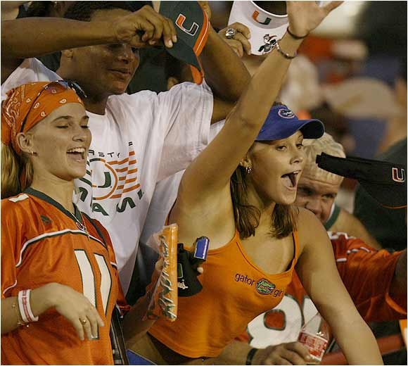 These girls enjoyed the action during a 2003 game against Miami.